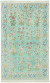 Ghom Silke Teppe 102X160 Ekte Orientalsk Håndknyttet Pastell Grønn/Lys Grå (Silke, Persia/Iran)