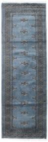 Pakistan Bokhara 3Ply Teppe 80X239 Ekte Orientalsk Håndknyttet Teppeløpere Blå/Mørk Grå (Ull, Pakistan)