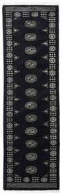 Pakistan Bokhara 3Ply Teppe 76X253 Ekte Orientalsk Håndknyttet Teppeløpere Mørk Grå (Ull, Pakistan)