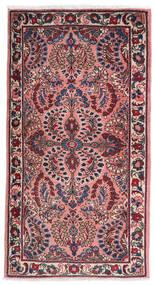 Sarough Teppe 75X140 Ekte Orientalsk Håndknyttet Mørk Lilla/Lyserosa (Ull, Persia/Iran)