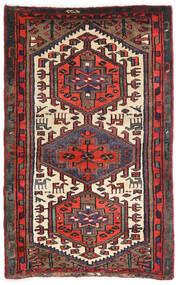 Hamadan Teppe 85X135 Ekte Orientalsk Håndknyttet Mørk Rød/Svart (Ull, Persia/Iran)