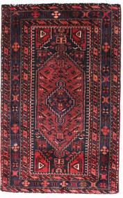 Hamadan Teppe 90X140 Ekte Orientalsk Håndknyttet Svart/Mørk Rød (Ull, Persia/Iran)