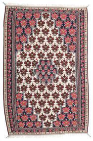 Kelim Senneh Teppe 150X220 Ekte Orientalsk Håndvevd Mørk Lilla/Lys Grå (Ull, Persia/Iran)