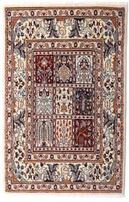 Moud Teppe 76X117 Ekte Orientalsk Håndknyttet Beige/Mørk Brun (Ull/Silke, Persia/Iran)