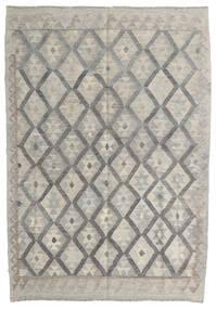 Kelim Afghan Old Style Teppe 125X181 Ekte Orientalsk Håndvevd Lys Grå/Mørk Grå (Ull, Afghanistan)