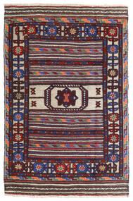 Kelim Golbarjasta Teppe 90X140 Ekte Orientalsk Håndvevd Mørk Lilla/Mørk Blå (Ull, Afghanistan)