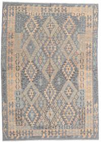 Kelim Afghan Old Style Teppe 177X256 Ekte Orientalsk Håndvevd Lys Grå/Mørk Brun (Ull, Afghanistan)