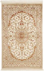 Ghom Silke Teppe 99X152 Ekte Orientalsk Håndknyttet Beige/Mørk Beige (Silke, Persia/Iran)