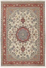 Tabriz 50 Raj Teppe 154X224 Ekte Orientalsk Håndknyttet Lys Grå/Mørk Brun (Ull/Silke, Persia/Iran)
