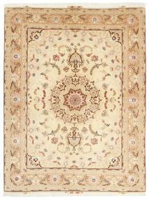 Tabriz 50 Raj Teppe 153X208 Ekte Orientalsk Håndknyttet Beige/Mørk Beige (Ull/Silke, Persia/Iran)