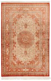 Ghom Silke Teppe 130X197 Ekte Orientalsk Håndknyttet Lysbrun/Rød (Silke, Persia/Iran)
