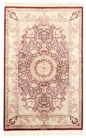 Ghom Silke Teppe 100X155 Ekte Orientalsk Håndknyttet Lyserosa/Mørk Brun (Silke, Persia/Iran)