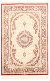 Ghom Silke Teppe 98X150 Ekte Orientalsk Håndknyttet Beige/Mørk Beige (Silke, Persia/Iran)