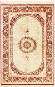 Ghom Silke Teppe 134X197 Ekte Orientalsk Håndknyttet Beige/Rød (Silke, Persia/Iran)