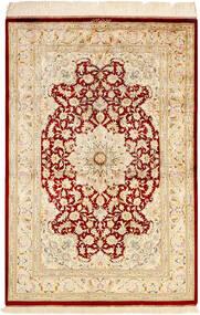 Ghom Silke Teppe 99X147 Ekte Orientalsk Håndknyttet Beige/Mørk Beige (Silke, Persia/Iran)