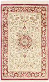 Ghom Silke Teppe 98X155 Ekte Orientalsk Håndknyttet Beige/Mørk Beige (Silke, Persia/Iran)