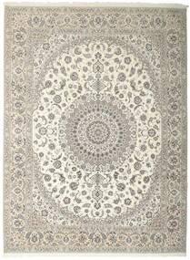 Nain 6La Teppe 312X410 Ekte Orientalsk Håndknyttet Lys Grå/Beige Stort (Ull/Silke, Persia/Iran)