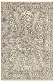 Nain 6La Teppe 206X303 Ekte Orientalsk Håndknyttet Lys Grå/Beige (Ull/Silke, Persia/Iran)