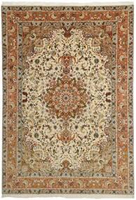 Tabriz 50 Raj Teppe 253X358 Ekte Orientalsk Håndknyttet Brun/Lysbrun/Mørk Beige Stort (Ull/Silke, Persia/Iran)