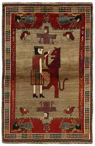 Ghashghai Teppe 132X200 Ekte Orientalsk Håndknyttet Mørk Brun/Lysbrun (Ull, Persia/Iran)