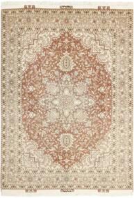 Tabriz 50 Raj Teppe 148X214 Ekte Orientalsk Håndknyttet Beige/Lys Grå (Ull/Silke, Persia/Iran)
