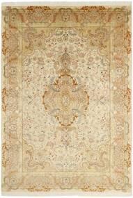 Tabriz 50 Raj Teppe 202X295 Ekte Orientalsk Håndknyttet Beige/Mørk Beige/Lysbrun (Ull/Silke, Persia/Iran)