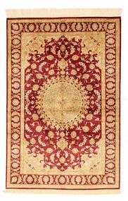 Ghom Silke Teppe 98X148 Ekte Orientalsk Håndknyttet Mørk Beige/Rød/Lysbrun (Silke, Persia/Iran)