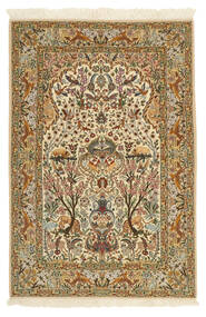 Isfahan Silkerenning Teppe 115X170 Ekte Orientalsk Håndknyttet Lysbrun/Beige (Ull/Silke, Persia/Iran)