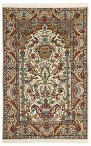 Isfahan Silkerenning Teppe 130X202 Ekte Orientalsk Håndknyttet Mørk Brun/Beige (Ull/Silke, Persia/Iran)