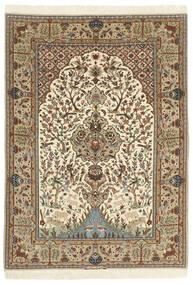 Isfahan Silkerenning Teppe 130X190 Ekte Orientalsk Håndknyttet Beige/Brun (Ull/Silke, Persia/Iran)