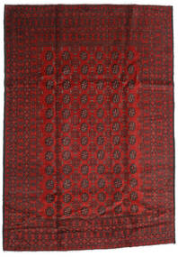 Afghan Teppe 198X283 Ekte Orientalsk Håndknyttet Mørk Rød/Mørk Brun (Ull, Afghanistan)
