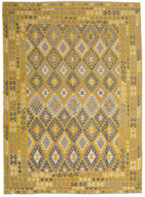 Kelim Afghan Old Style Teppe 255X358 Ekte Orientalsk Håndvevd Gul/Lysbrun Stort (Ull, Afghanistan)