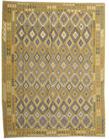 Kelim Afghan Old Style Teppe 298X389 Ekte Orientalsk Håndvevd Olivengrønn/Mørk Grå Stort (Ull, Afghanistan)