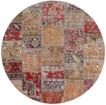 Patchwork - Persien/Iran Teppe Ø 200 Ekte Moderne Håndknyttet Rundt Lys Grå/Mørk Rød (Ull, Persia/Iran)