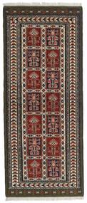 Turkaman Teppe 82X196 Ekte Orientalsk Håndknyttet Teppeløpere Svart/Mørk Brun (Ull, Persia/Iran)