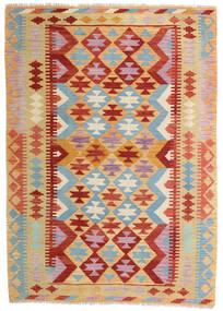 Kelim Afghan Old Style Teppe 129X181 Ekte Orientalsk Håndvevd Mørk Beige/Mørk Rød (Ull, Afghanistan)