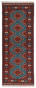 Turkaman Teppe 78X197 Ekte Orientalsk Håndknyttet Teppeløpere Mørk Rød/Svart (Ull, Persia/Iran)
