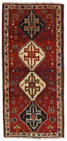 Ghashghai Teppe 87X189 Ekte Orientalsk Håndknyttet Teppeløpere Mørk Rød/Svart (Ull, Persia/Iran)