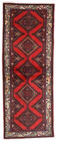 Hosseinabad Teppe 77X207 Ekte Orientalsk Håndknyttet Teppeløpere Mørk Rød/Svart (Ull, Persia/Iran)