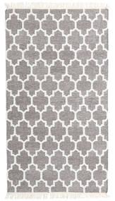 Bamboo Silke Kelim Teppe 90X160 Ekte Moderne Håndvevd Lys Grå/Hvit/Creme (Ull/Bambus Silke, India)