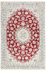 Nain 9La Teppe 115X181 Ekte Orientalsk Håndknyttet Lys Grå/Beige/Mørk Rød (Ull/Silke, Persia/Iran)