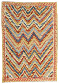 Kelim Afghan Old Style Teppe 180X258 Ekte Orientalsk Håndvevd Rød/Mørk Beige (Ull, Afghanistan)