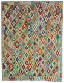 Kelim Afghan Old Style Teppe 190X247 Ekte Orientalsk Håndvevd Lys Grå/Mørk Grønn (Ull, Afghanistan)