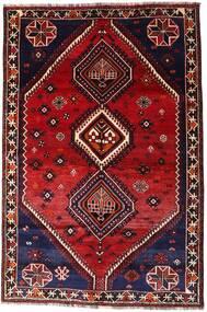 Shiraz Teppe 160X242 Ekte Orientalsk Håndknyttet Mørk Rød (Ull, Persia/Iran)