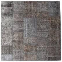 Patchwork - Persien/Iran Teppe 204X204 Ekte Moderne Håndknyttet Kvadratisk Mørk Grå/Lys Grå/Brun (Ull, Persia/Iran)