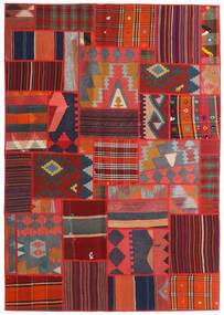Tekkeh Kelim Teppe 141X203 Ekte Moderne Håndvevd Mørk Grå/Mørk Rød/Rust (Ull, Persia/Iran)