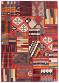Tekkeh Kelim Teppe 141X203 Ekte Moderne Håndvevd Rust/Mørk Grå/Mørk Rød (Ull, Persia/Iran)
