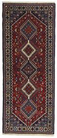 Yalameh Teppe 80X200 Ekte Orientalsk Håndknyttet Teppeløpere Svart/Mørk Rød (Ull, Persia/Iran)