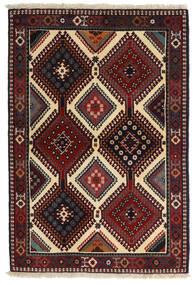 Yalameh Teppe 104X152 Ekte Orientalsk Håndknyttet Mørk Rød/Mørk Grå (Ull, Persia/Iran)