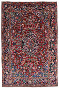 Mashad Teppe 196X290 Ekte Orientalsk Håndknyttet Mørk Rød/Mørk Grå (Ull, Persia/Iran)